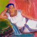 Portrait of reclining woman painted by Beth Amine